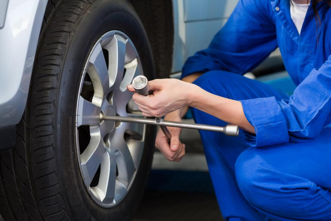car tire repair in progress